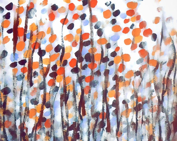 AUTUMN MIST, Giclee print on mould made fine art paper. Acrylic abstract painting in earthy colors.