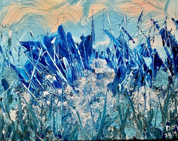FROST, authentic original acrylic painting on stretched canvas. Size 12x16 inches. Unframed. Blue and white  colors. Signed by the artist.
