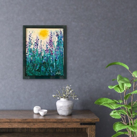 DELPHINIUMS. AUTHENTIC ORIGINAL framed Acrylic Painting. Pairing subtle modern nature impression with sleek silhouettes in earthy colors.
