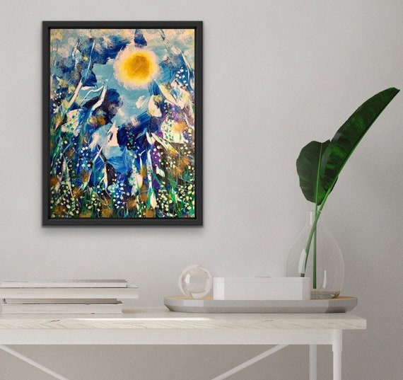 UNDERWATER REFLECTIONS, Authentic ORIGINAL framed acrylic abstract impressionistic painting, ready to hang.