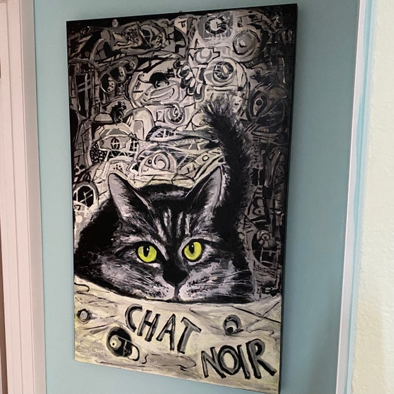 CHAT NOIR - Unique, authentic, original painting available directly by the artist Dan Abrahamsson. Contemporary Impressionist & Abstract Art