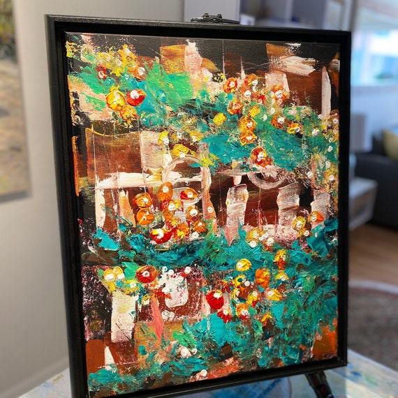Mauerblümchen - Wallflowers, 3 single paintings that make 1 if put together