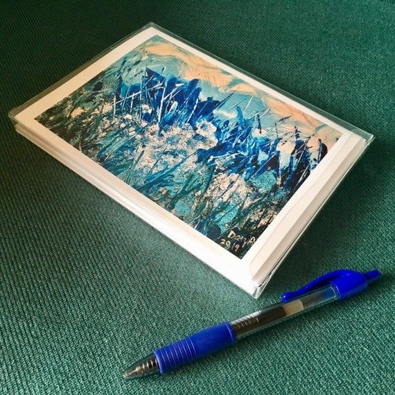 FROST - Set of 7 printed Greeting Cards with Envelopes of my original acrylic canvas painting
