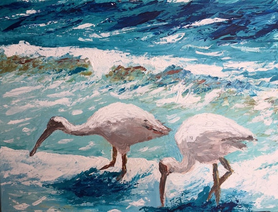 WHITE IBIS on Marco Island. Original, authentic, palette knife acrylic painting on stretched canvas. Black wooden floating frame.