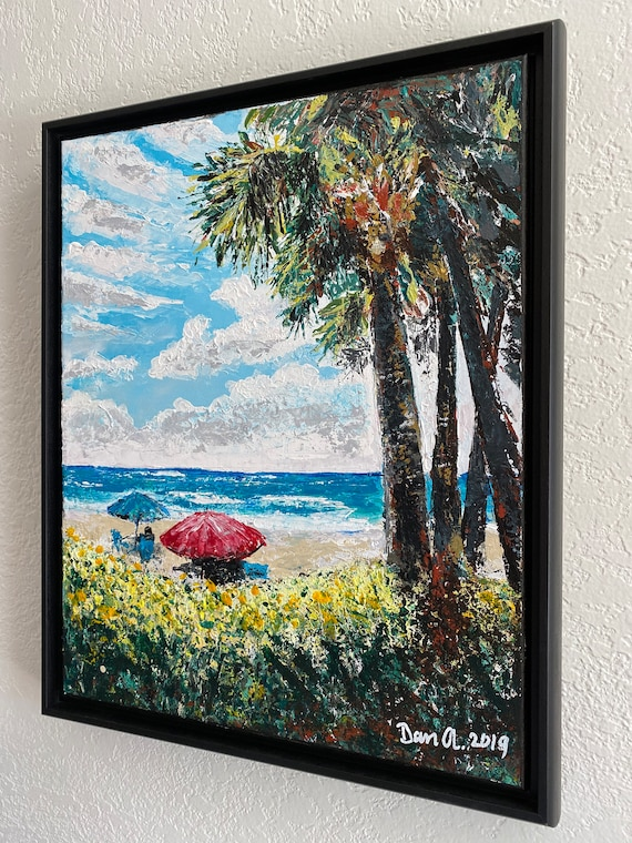 BEACH SERENITY  Original, authentic, palette knife acrylic painting on stretched canvas