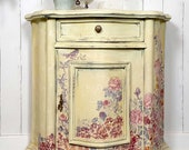 Hand Painted Vintage Chest of Drawers AIN 39 T SHE SWEET delicate yellow dresser with fine flowers in country style