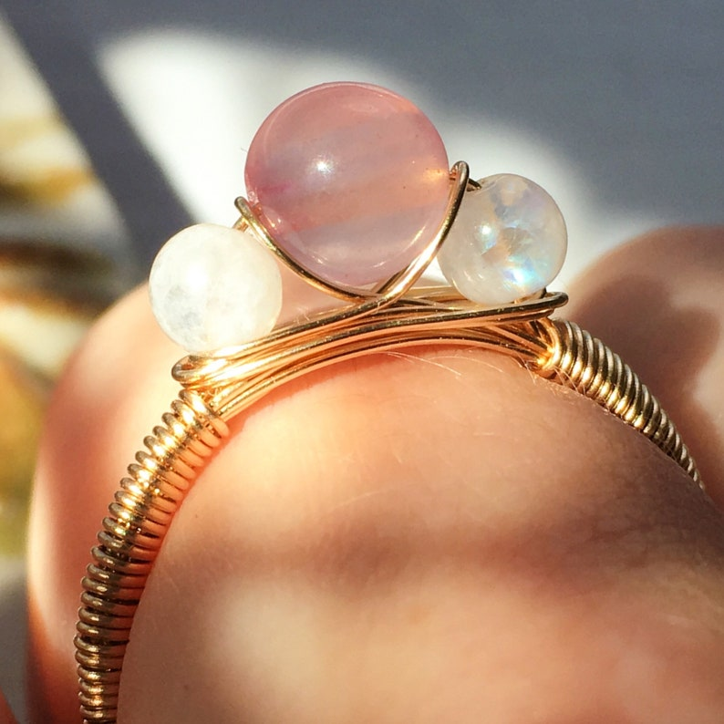 Sterling Silver 14K GoldRose Gold Filled Simple Wire Wrapped Ring Pink Rose Quartz Tiny White Rainbow Moonstone Rose Quartz Moonstone Ring