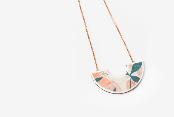 Floral Print Pendant Necklace with Sterling Silver or Rose Gold Chain - Abstract - Laser cut - Acrylic - Walnut - Blush - Coral - Green