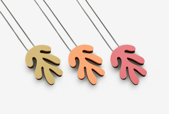 Abstract Matt Acrylic Pendant with Silver, Rose Gold or Steel Chain - Necklace - Laser cut - Acrylic - Walnut -  Minimal - Matisse