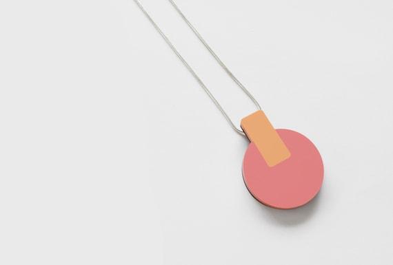 Coral & Orange Abstract Circle Pendant Necklace - Laser cut - Acrylic - Walnut -  Minimal