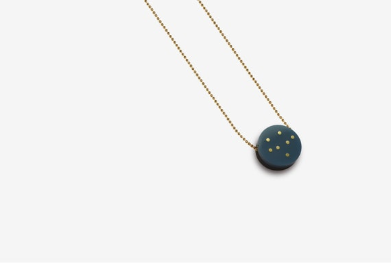 Navy Acrylic Pendant with Brass or Silver Inlay Dots and Ball Chain - Delicate - Valentines Gift - Walnut -  Womens Gift - Round