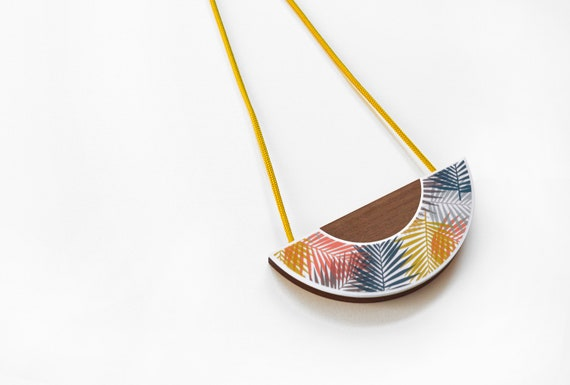 Fern Print Statement Pendant Necklace with Yellow Cord - Laser cut - Adjustable - Acrylic - Walnut - Orange - Blush - Blue - Rose Gold