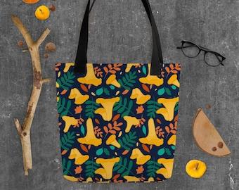 Chanterelle Mushroom Autumn Pattern Tote Bag