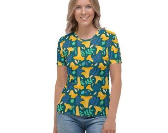 Chanterelle Mushroom Blue Women's T-Shirt
