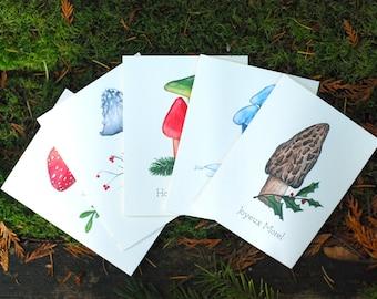 Mushroom Christmas Holiday Cards Funny Mushroom Puns