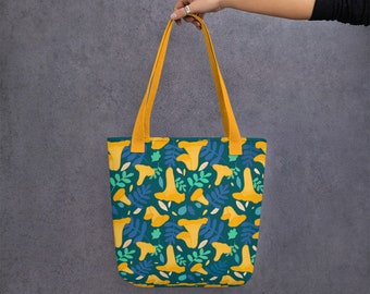 Chanterelle Mushroom Pattern Tote Bag