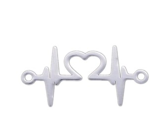 10pcs ECG Rhythm Heartbeat Heart Crystal Connector Charm For DIY Jewelry Craft