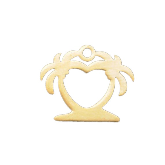 520pcs Stainless Steel palm tree chams silver Coconut tree charms DIY supplies Jewelry accessories 15x13mm