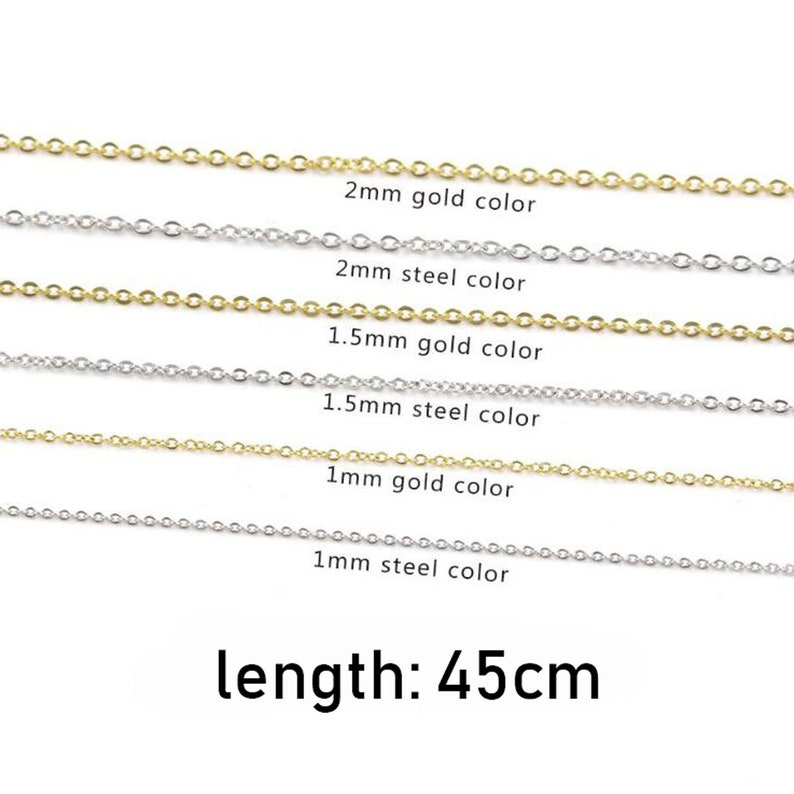 5Pcs 1 1.52mm Cable link Chains necklace DIY Chains Supplies Stainless steel gold tone chain necklace Wholesale Chains 45cm