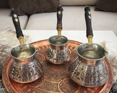 3x Turkish Copper Coffee Pot With Walnut Wooden Handle, Traditional Handmade Copper Cezve, 100 Grams Of Coffee As A Gift