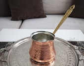 Turkish Copper Coffee Pot With Brass Handle, Traditional Handmade Copper Cezve, 100 Grams Of Coffee As A Gift