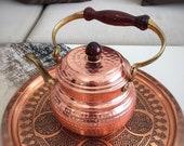 Turkish Copper Teapot, Handmade Copper Kettle, Vintage Style Copper Tea Kettle, Copper Herbal Teapot, Copper Coffee Pot