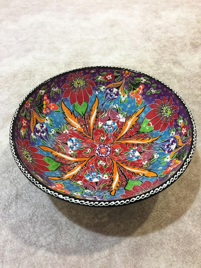 10 Salade en céramique turque décorative faite à la main, Grand bol de service coloré, bols décoratifs pour tables basses, bol de fruits
