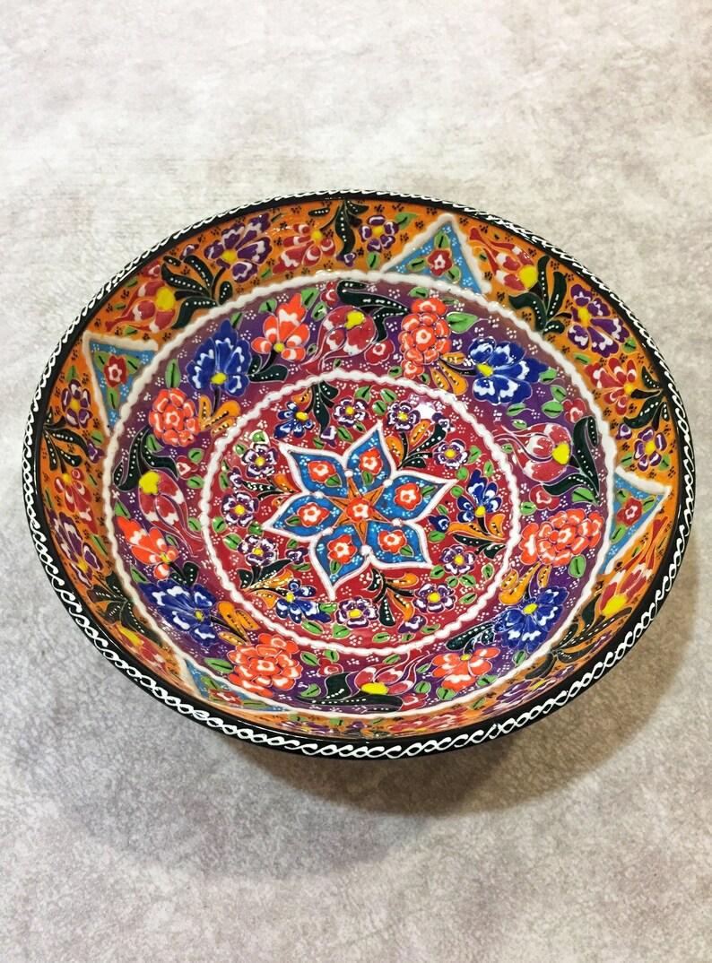 10 Decorative Large Ceramic Bowl, Turkish Ceramic Bowl, Large Salad Bowl, Salad Serving Bowl, Ceramic Serving Bowl,Turkish Bowl,Tapas Bowl