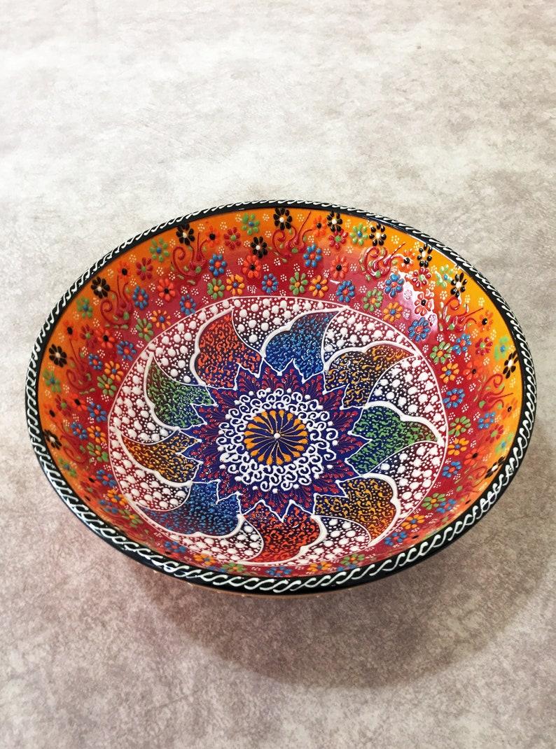 10 Grand bol en céramique turc , Grand Salad Bowl en céramique colorée, Grand Salad Bowl, Serve Bowl,Handmade Turkish Ceramic,Decorative Bowl