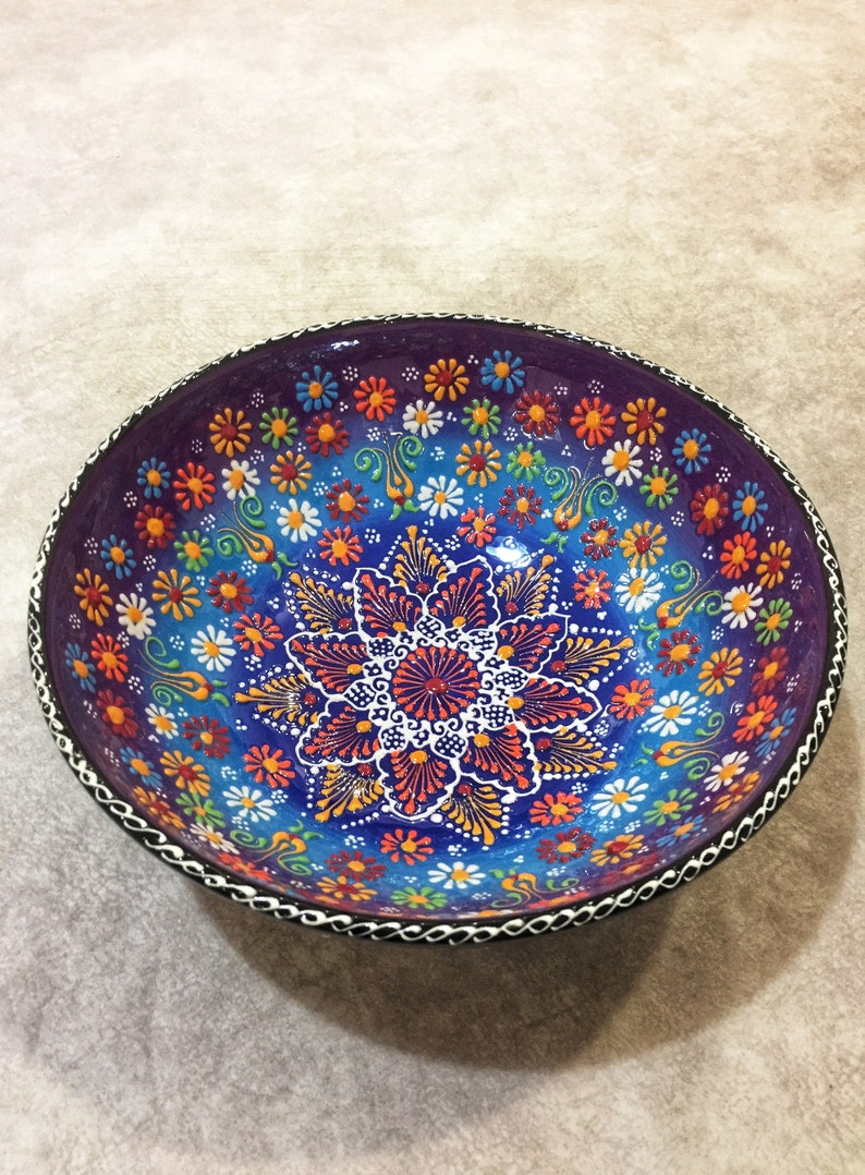 10 Decorative Ceramic Turkish Bowl, Handmade Colorful Bowl, Large Decorative Bowl,Ceramic Salad Bowl,Salad Serving Bowl,Large Serving Bowl