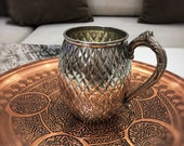Staple Embroidered Moscow Mule Copper Mug Cup With Brass Handle, 18 Oz Handmade Turkish Copper Mug