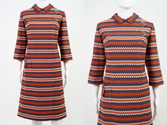 Vintage 1960s Mod Knit Dress | Size 16