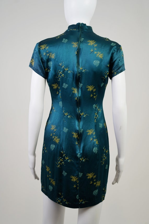 Vintage 90s Teal Oriental Mini Dress - 0 - image 5
