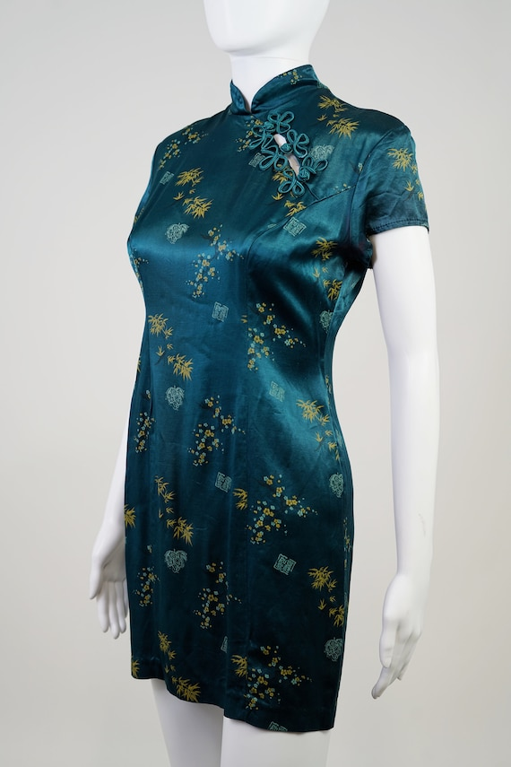 Vintage 90s Teal Oriental Mini Dress - 0 - image 7