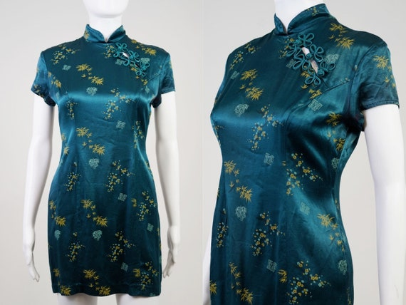 Vintage 90s Teal Oriental Mini Dress - 0 - image 1