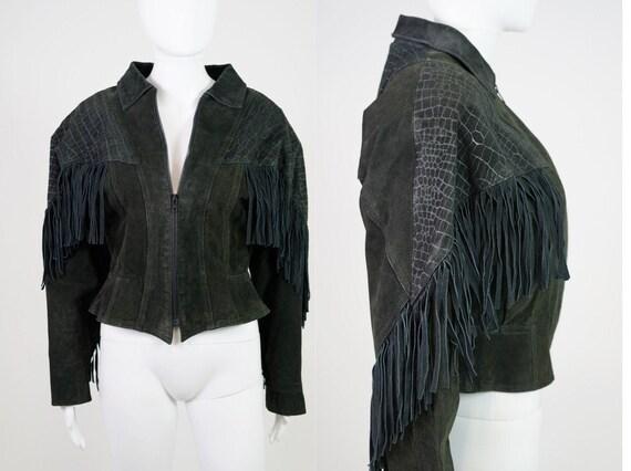 Vintage 1980s Stamped Suede Fringe Basque Jacket -