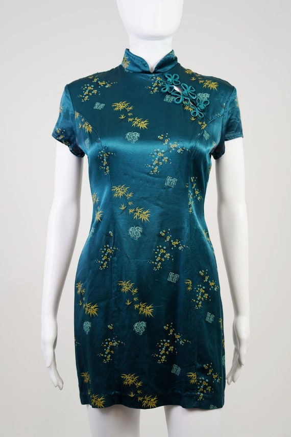 Vintage 90s Teal Oriental Mini Dress - 0 - image 3