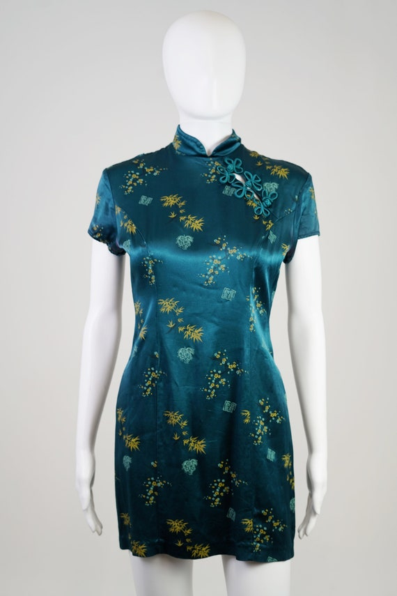 Vintage 90s Teal Oriental Mini Dress - 0 - image 2