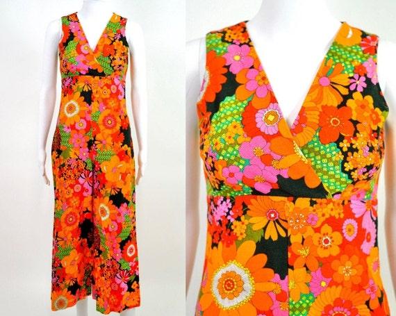 1960s Psychedelic Flower Power Neon Jumpsuit   siz