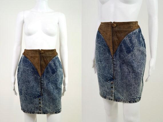 Vintage 1980s Leather & Denim Acid Wash Midi Skirt