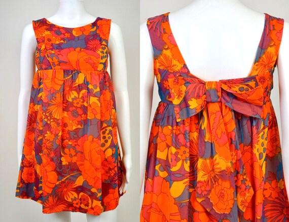 Vintage 1960s Psychedelic Chiffon Mini Dress - 0