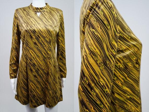 Vintage 1970s Velvet Psychedelic Mini Dress - M