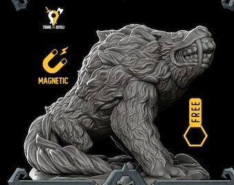 Dire Wolf barghest magnetic DnD miniatures | Dungeons and dragons D&D RPG tabletop miniature paint free initiative tracker