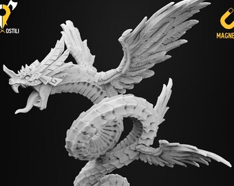 Couatl miniature Quetzalcoatl divine snake Dungeons and dragons, DnD , Age of Sigmar, W40k, 9th Age, kow, mordheim | RPG tabletop miniature