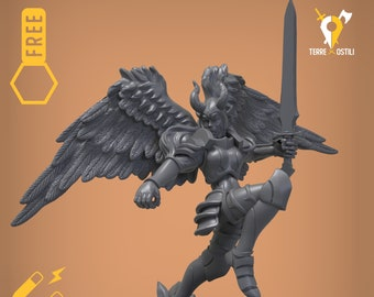 Angelic warrior seraphim magnetic DnD miniatures | Dungeons and dragons D&D RPG tabletop miniature paint free initiative tracker