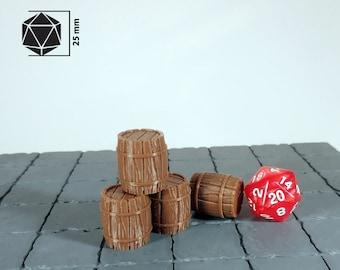 Big barrel - Set 4x | Dungeons and Dragons Terrain | Medieval fantasy | wargame Scenery | DnD Terrain | Tabletop Terrain
