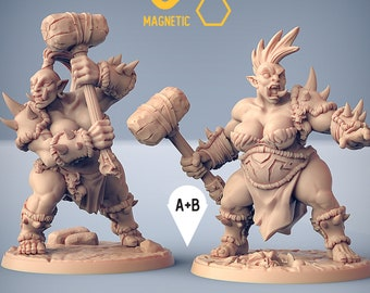 Ogre warrior female hammer miniature Dungeons and dragons, DnD , Age of Sigmar, W40k, 9th Age, kow, mordheim | RPG tabletop miniature