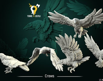 Crows animal companion set of 5 miniature Dungeons and dragons, pathfinder, DnD , frostgrave, mordheim | RPG tabletop miniature