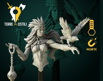 Maletta crow queen druid bust resin high quality miniature Dungeons and dragons, Fantasy bust   RPG tabletop