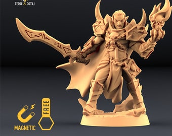 Elf Warlock antipaladin miniature Dungeons and dragons, DnD , Age of Sigmar, W40k, 9th Age, kow, mordheim | RPG tabletop miniature